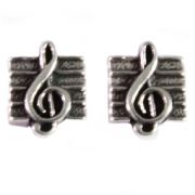 Sterling Silver Stud Earrings - Treble Clef